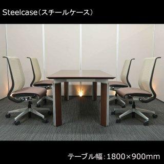 【格調高い雰囲気の中に軽快感を感じさせ、重くなり過ぎない空間をつくり出す】【テーブル+チェア�脚セット】【中古】プラス/MT-P(テーブル)+スチールケース/シンク(チェア)