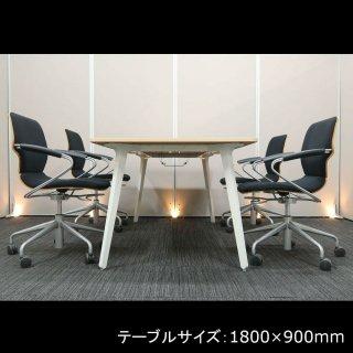 【ワイヤーフレームで 快適な座り心地のチェアを使用。優しい雰囲気で多用途に使える、テーブル+チェア�脚セット】【中古】ウチダ/レムナ(テーブル)+ イトーキ/シンタ(チェア)