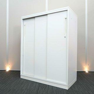 【基本機能を追求した シンプル デザインが、心地良い空間をつくり出す】【天板付き 3枚引き戸書庫】【中古】ウチダ/ハイパーストレージ HS ホワイト色