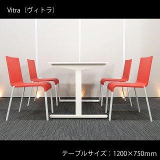 【洗練された、シンプルな美しさ】【スイスの人気ブランド、ヴィトラ製チェアを使用】【テーブル+チェア�脚セット】【中古】ヴィトラ/.03 ゼロスリー(チェア)+ イトーキ/DC(テーブル) ホワイト天板