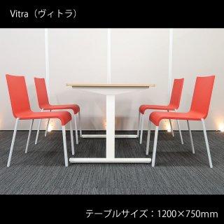 【洗練された、シンプルな美しさ】【スイスの人気ブランド、ヴィトラ製チェアを使用】【テーブル+チェア�脚セット】【中古】ヴィトラ/.03 ゼロスリー(チェア)+ イトーキ/DC(テーブル) ウッド天板