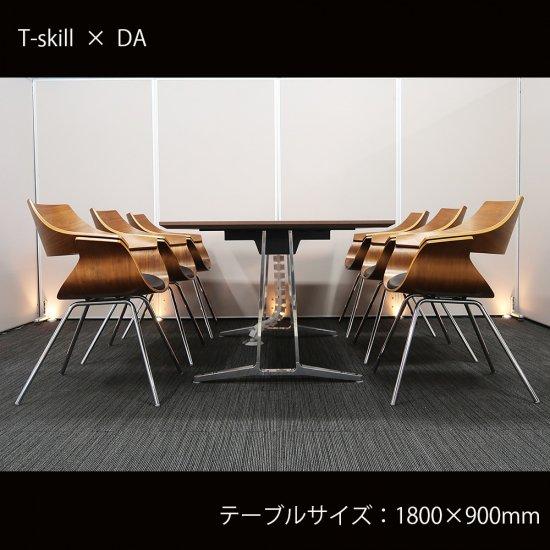 【装飾を削ぎ落した、エレガントで落ち着きのある スマートデザイン】【テーブル+チェア�脚セット】【中古】オカムラ/T-skill(ティー・スキル)+ イトーキ/DA(座面 ブラック色)