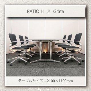 【テーブル+チェア�脚セット】【中古】<br>■オカムラ/ラティオ�+ グラータ