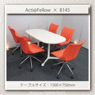 【テーブル+チェア�脚セット】【中古】<br>■オカムラ/アクティアフェロー + 8145