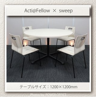 <img class='new_mark_img1' src='https://img.shop-pro.jp/img/new/icons1.gif' style='border:none;display:inline;margin:0px;padding:0px;width:auto;' />【テーブル+チェア�脚セット】【中古】<br>■オカムラ/アクティアフェロー + スイープ