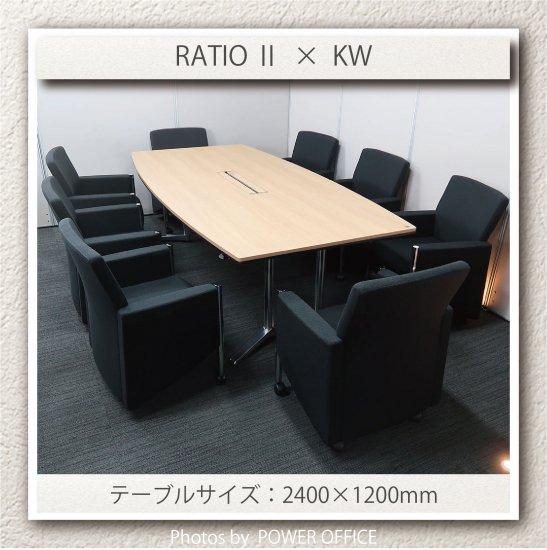 【テーブル+チェア�脚セット】【中古】 ■オカムラ/ラティオ�+ イトーキ/KW(キャスター付き)