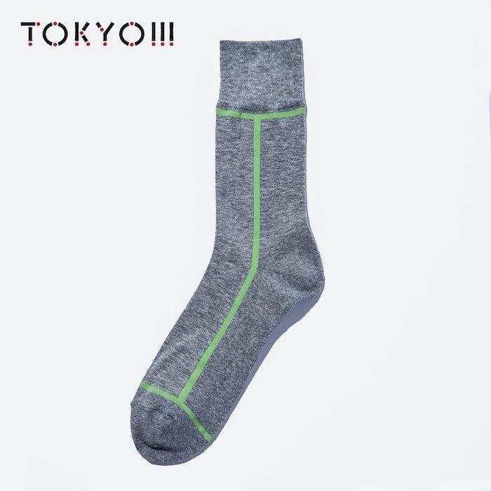 TOKYO!!!×CHICSTOCKS  17×66 Heather Gray×Lime Green