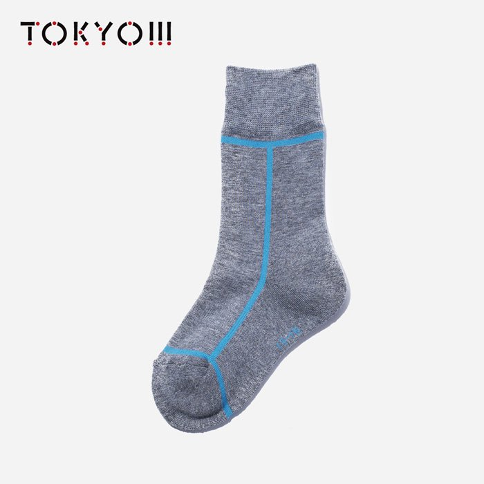 TOKYO!!!×CHICSTOCKS  KIDS 17×71 Heather Gray×Light Blue