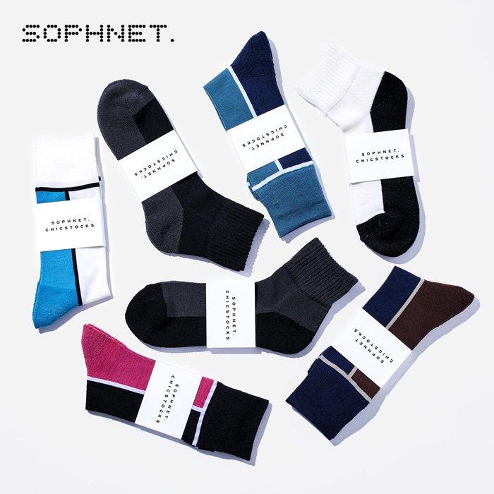 SOPHNET.×CHICSTOCKS  COOLMAX WOOL  ラインソックス/ブラック