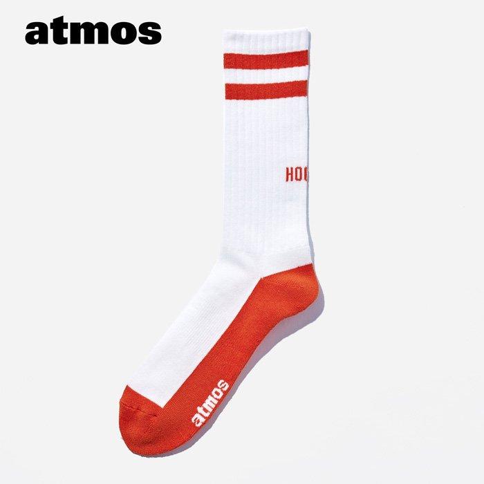 atmos×CHICSTOCKS  HOOPS リブソックス  ホワイト×オレンジ