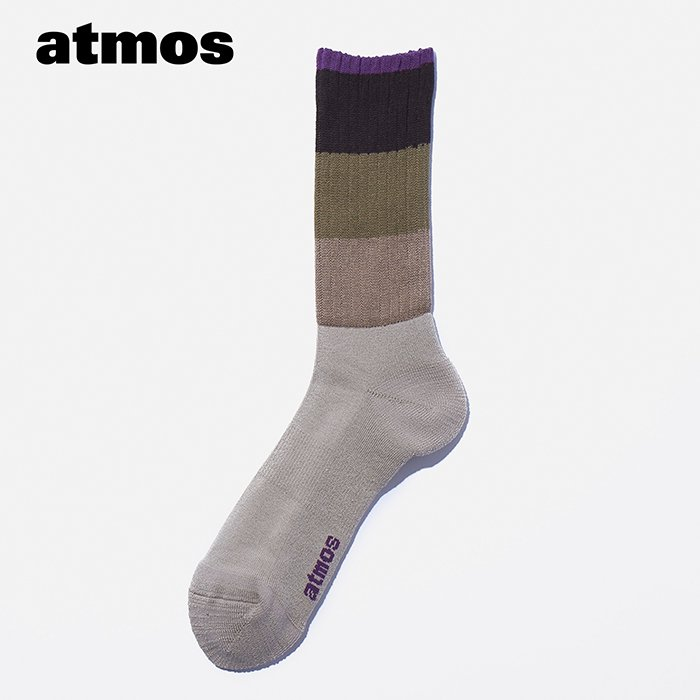 atmos×CHICSTOCKS  カラーブロックソックス  ベージュ