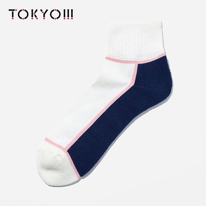 TOKYO!!!×CHICSTOCKS  アンクルソックス オフホワイト×ピンク