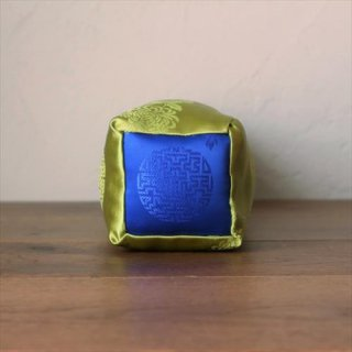 viincollection/サテン枕 四角 黄緑×青