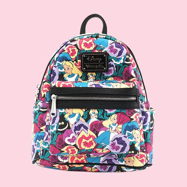 LOUNGEFLY × DISNEY ALICE FLOWERS MINI FAUX LEATHER BACKPACK / ラウンジフライ ディズニー バックパック