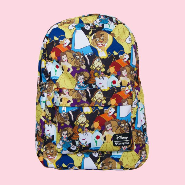 LOUNGEFLY × DISNEY BEAUTY AND THE BEAST CHARACTER PRINT BACKPACK / ラウンジフライ  ディズニー バックパック