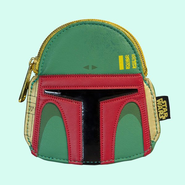 LOUNGEFLY × STAR WARS BOBA FETT GREEN/RED FAUX LEATHER FACE COIN BAG / ラウンジフライ スターウォーズ コインケース
