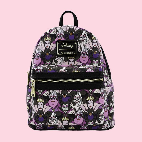 LOUNGEFLY × DISNEY VILLAINS PRINT MINI FAUX LEATHER BACKPACK / ラウンジフライ ディズニー バックパック
