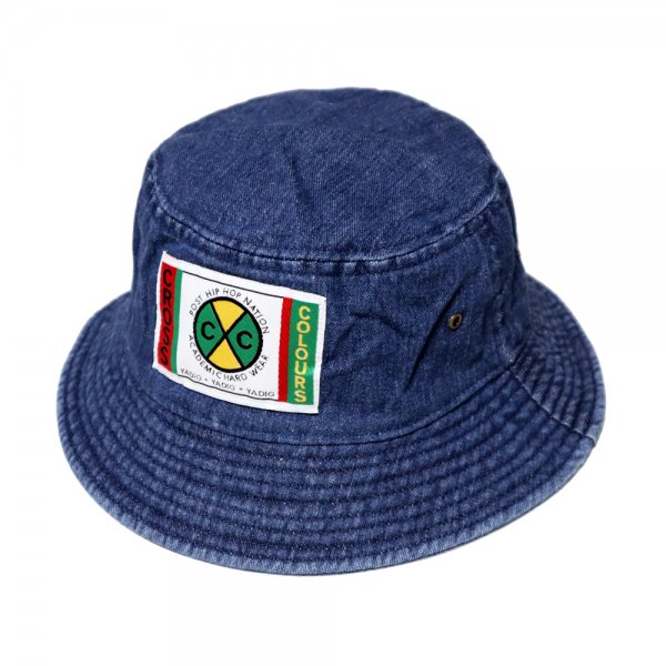 CROSS COLOURS LABEL LOGO DENIM BUCKET HAT [ DARK DENIM ] / クロスカラーズ バケットハット