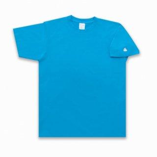 うんこ 半袖Tシャツ 袖口タイプ ターコイズ×ホワイト