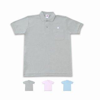 うんこ半袖ポロシャツ グレー×ホワイト