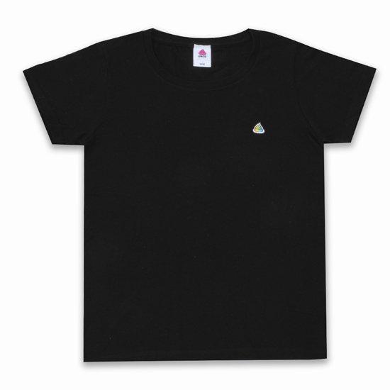 うんこレディースTシャツ ブラックxレインボー
