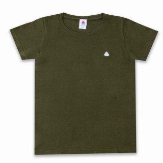 うんこレディースTシャツ アーミーグリーンxシルバー