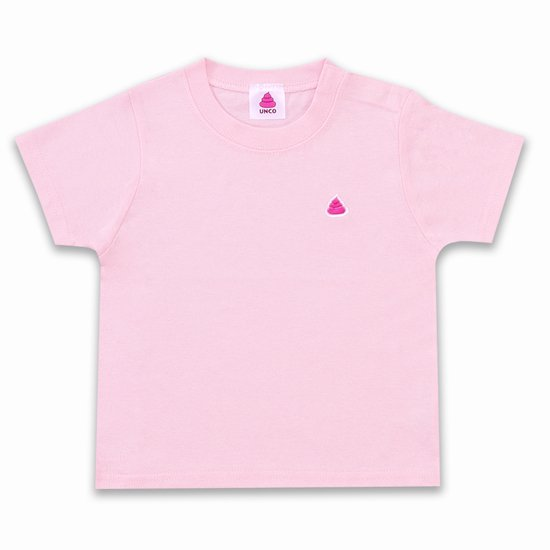 うんこベビーTシャツ ライトピンクxピンク 90