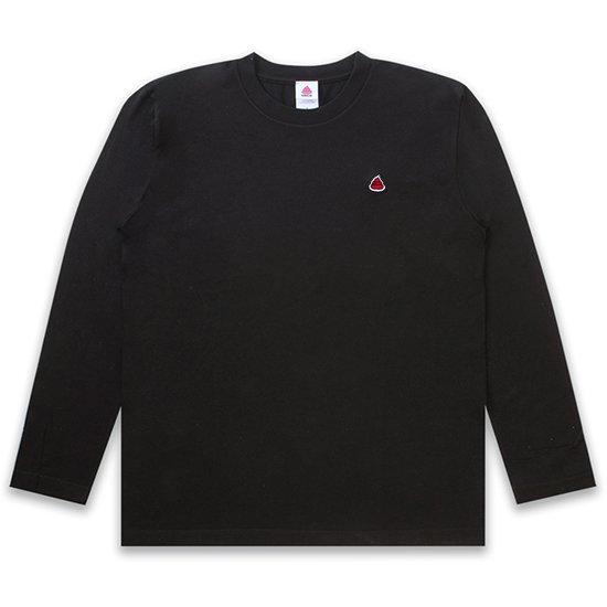 うんこ ヘビーウェイト長袖Tシャツ ブラック×エンジ
