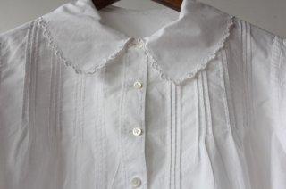 レース角襟コットンシャツ