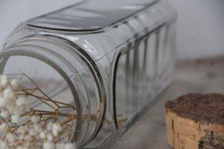 肉厚ガラスの角型コルクボトル クリア