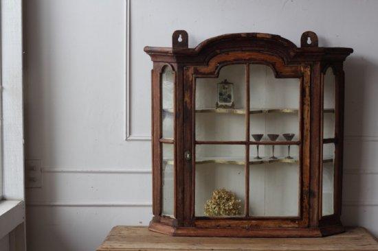 ガラス入 木製ショーケース/薬棚