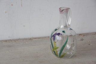 花絵付のガラスポット