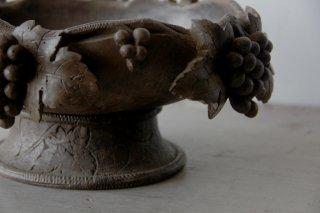 葡萄彫刻の木製高台ボウル