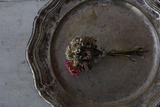 シルバープレートの花リムトレイ