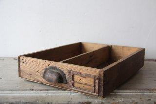 フランスアンティーク  把手・ネームタグ付き 木製抽斗BOX/引き出しB
