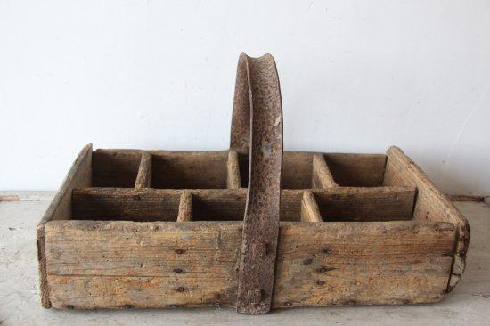 フランスアンティーク  職人の木製の道具箱/把手鉄製