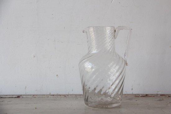 フランスアンティーク ガラスのジャグ/ピッチャー大