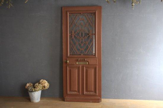 フランスアンティーク  茶ペイントの玄関ドア/裏面白