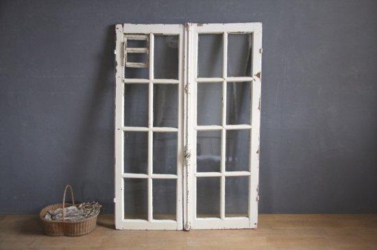 フランスアンティーク グレモン錠付き 白ペイントの窓(換気小窓付き)