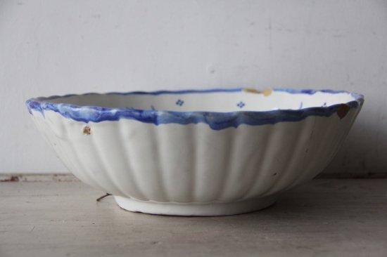 フランスアンティーク 白釉薬 ハンドペイント 青絵付け 大きな深皿