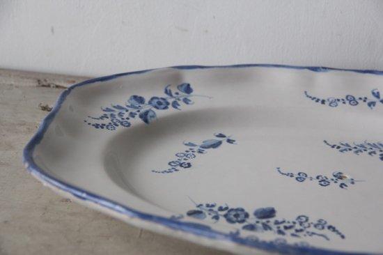 フランスアンティーク  白釉薬 ハンドペイント 青絵付け 大皿