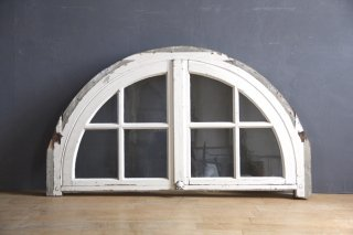 フランスアンティーク 白ペイントのアーチ窓 A