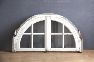 フランスアンティーク 白ペイントのアーチ窓 B