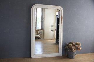フランスアンティーク 白の木製フレームミラー/姿見鏡