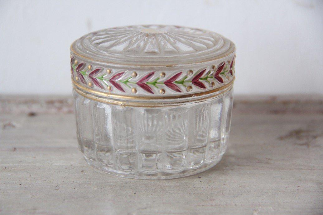 フランスアンティーク  ガラス製 金彩/小物入れ