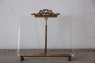 フランスアンティーク  リボン装飾 金縁 ガラスフレーム 大