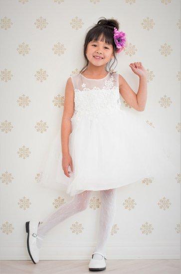 (DR016) ホワイト 肩透け 胸元フラワーレースドレス