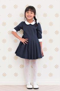 (GF056) ネイビー シンプル ワンピース 白襟