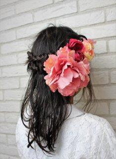 (HD001) ピンクシルクフラワーヘッドドレス