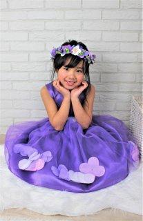 (DR028) 紫色チュールバールーンスカート(フラワー入り)ドレス